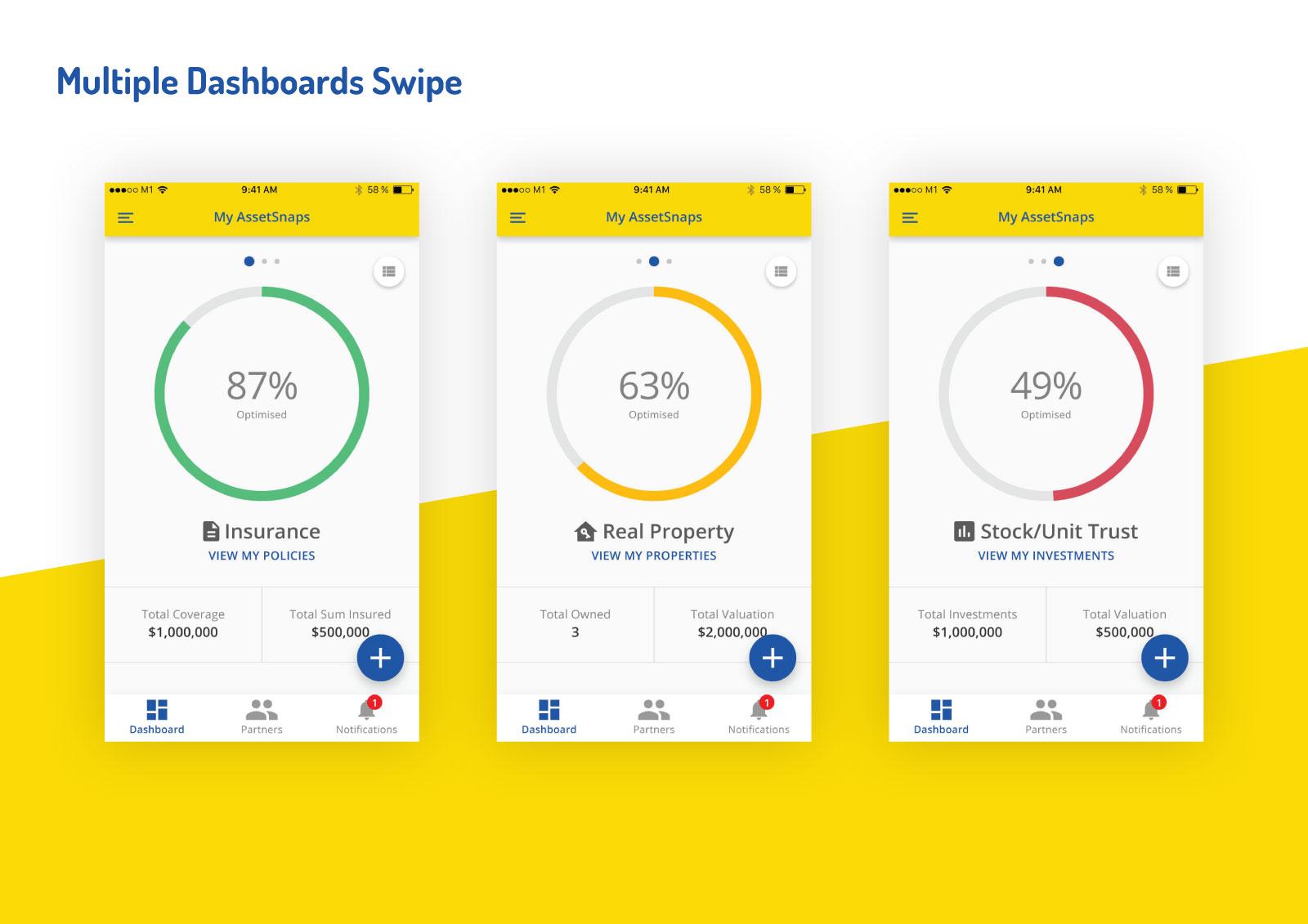 Asset Snaps - Multiple Dashboards Swipe