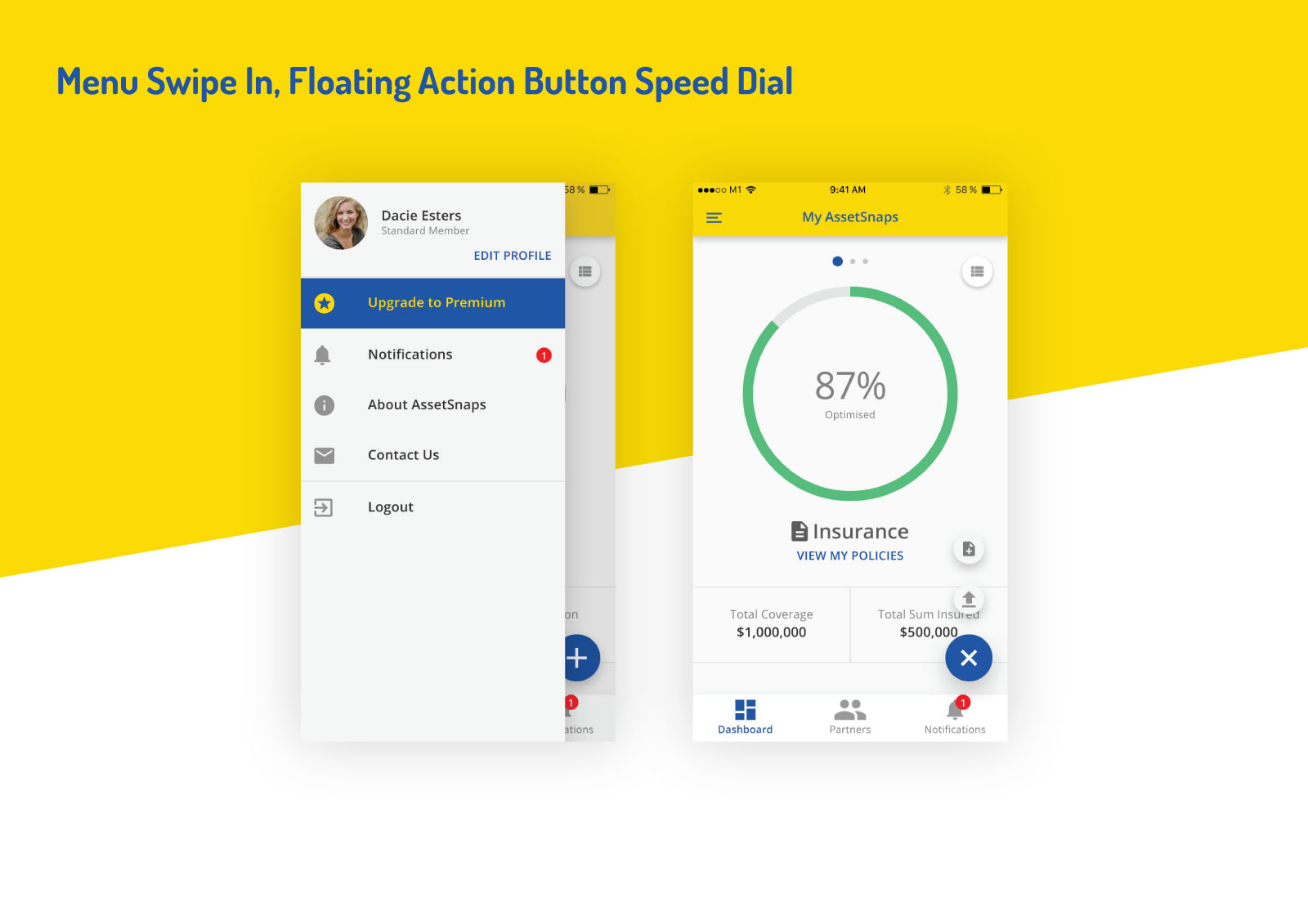 Asset Snaps - Menu Swipe In, Floating Action Button Speed Dial